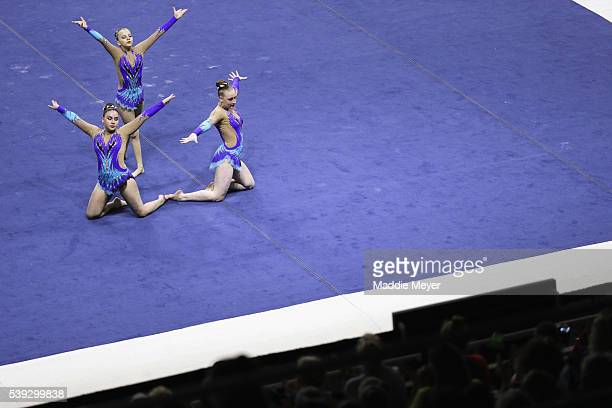 Abigail Disman Alexandra Gladkova and Nicole Johnson compete in the 1218 Women's Group Balance during 2016 USA Gymnastics Championships Day 1 at the...