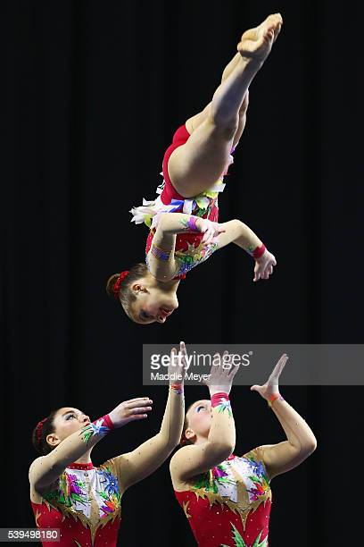 Abigail Disman Alexandra Gladkova and Nicole Johnson compete in the Women's Group Dynamic competition during 2016 USA Gymnastics Championships Day 2...