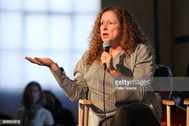 Abigail Disney speaks onstage at The Sundance Institute Refinery29 and DOVE Chocolate Present 2018 Women at Sundance Brunch at The Shop on January 22...