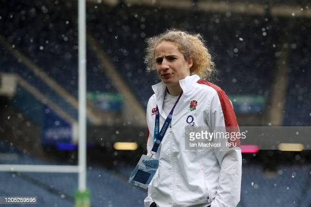 Abigail Dow of England inspect the pitch prior to the Women's Six Nations match between Scotland and England at Murrayfield Stadium on February 10...