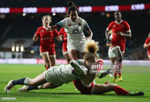 Abigail Dow of England touches down for the second try during the Old Mutual Wealth Series match between England and Canada at Twickenham Stadium on...