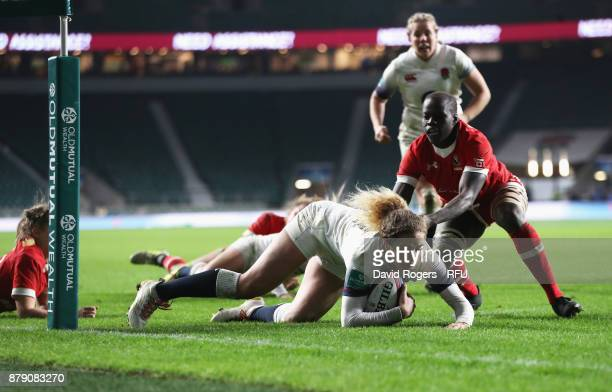 Abigail Dow of England touches downn for the third try during the Old Mutual Wealth Series match between England and Canada at Twickenham Stadium on...