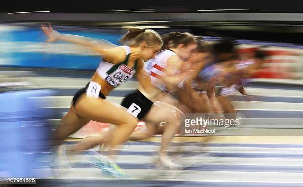 Abigail Galpin of Guernsey competes in the heats of the Women's 60m during the Spar British Indoor Championships at Emirates Arena on February 22,...