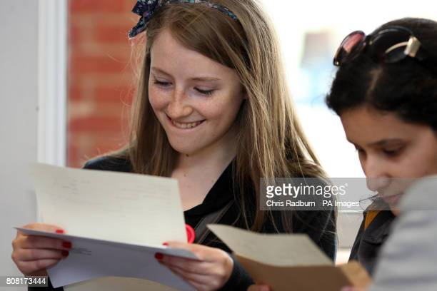 Abigail Harris from Chelmsford celebrates receiving her GCSE exam results at Chelmsford County High School for Girls in Chelmsford Essex