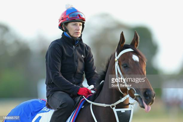 Abigail Harrison rides Mull Of Killough during trackwork ahead of the Melbourne Cup at Werribee Racecourse on November 3 2013 in Melbourne Australia
