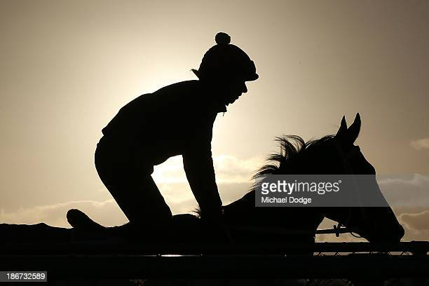 Abigail Harrison rides Mull Of Killough during trackwork ahead of the Melbourne Cup at Werribee Racecourse on November 4 2013 in Melbourne Australia