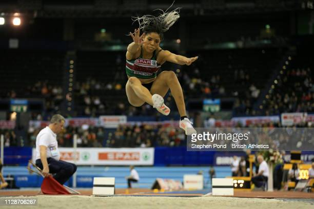 Abigail Irozuru jumps during the womens long jump during Day Two of the SPAR British Athletics Indoor Championships at Arena Birmingham on February...
