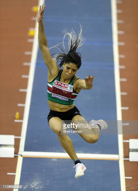 Abigail Irozuru jumps during the Women's Long Jump Final during Day Two of the SPAR British Athletics Indoor Championships at Arena Birmingham on...