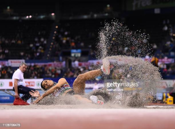 Abigail Irozuru jumps during the womens long jump final during Day Two of the SPAR British Athletics Indoor Championships at Arena Birmingham on...