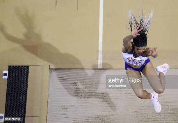 Abigail Irozuru of Great Britain competes in the Women's Long Jump during the European Athletics Indoor Championships Day Two at the Emirates Arena...