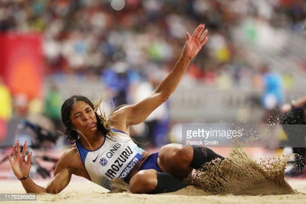 Abigail Irozuru of Great Britain competes in the Women's Long Jump final during day ten of 17th IAAF World Athletics Championships Doha 2019 at...