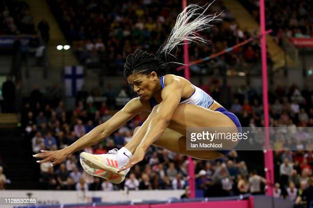 Abigail Irozuru of Great Britain in action during the final of the women's long jump on day three of the 2019 European Athletics Indoor Championships...