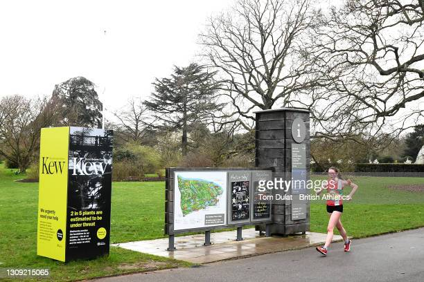 Abigail Jennings competes in the womens 20km walking race during the Muller British Athletics Marathon and 20km Walk Trials at Kew Gardens on March...