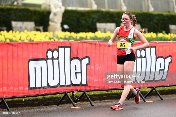 Abigail Jennings in action as she competes in the womens 20km walking race during the Muller British Athletics Marathon and 20km Walk Trials at Kew...