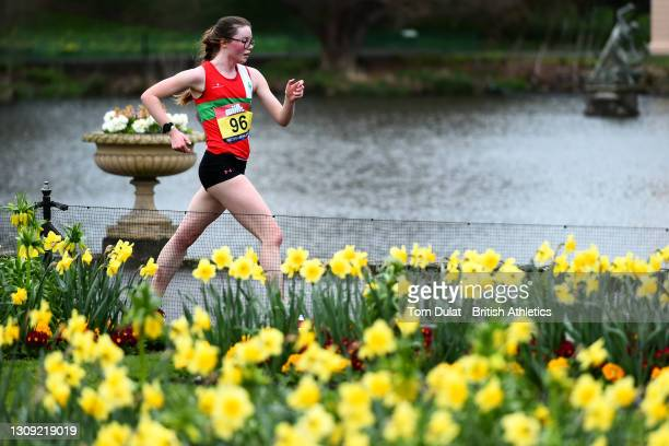 Abigail Jennings in action during the womens 20km walking race during the Muller British Athletics Marathon and 20km Walk Trials at Kew Gardens on...