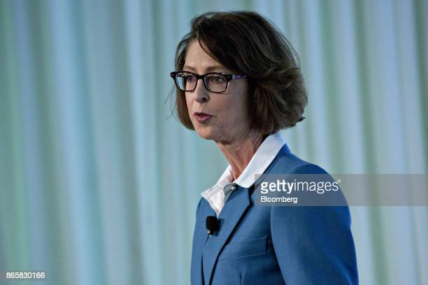 Abigail Johnson chairman and chief executive officer of Fidelity Investments speaks during a presentation at the Securities Industry And Financial...