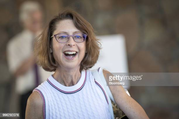 Abigail Johnson chairman and chief executive officer of Fidelity Investments arrives for the Allen Co Media and Technology Conference in Sun Valley...