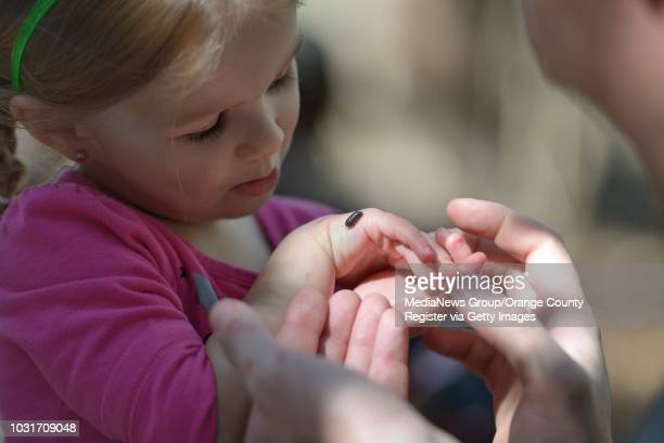 Abigail Johnson gets some help from her father Joe Johnson as she examines a bug a the El Dorado Nature Center in Long Beach ÒLove Bug DayÓ at the...