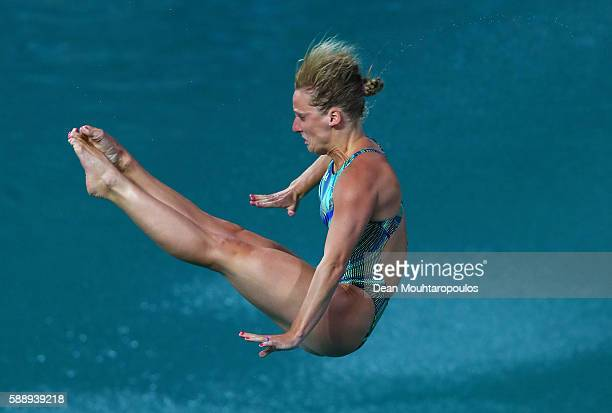 Abigail Johnson of the United States competes in the Women's Diving 3m Springboard Preliminary Round on Day 7 of the Rio 2016 Olympic Games at Maria...