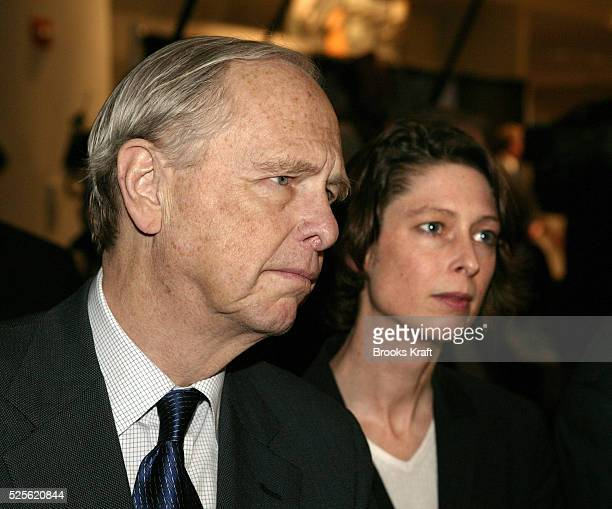Abigail Johnson president of Fidelity Management Research Co and her father Fidelity Chairman Edward C Johnson III listen as President George W Bush...