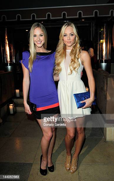 Abigail Klein and Laura Vandervoort attend Lucky Magazine And Essie Celebrate June Cover Star Emily VanCamp at Sunset Tower on May 8 2012 in West...