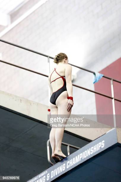 Abigail Knapton of Nebraska competes in platform diving during the Division I Women's Swimming Diving Championship held at the McCorkle Aquatic...