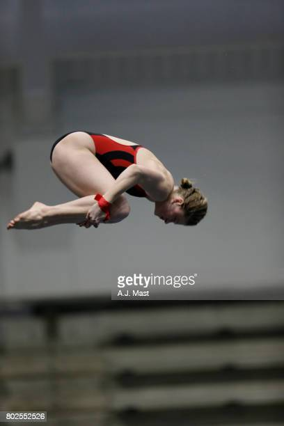 Abigail Knapton of the University of Nebraska competes in the platform dive during the Division I Women's Swimming Diving Championships held at the...