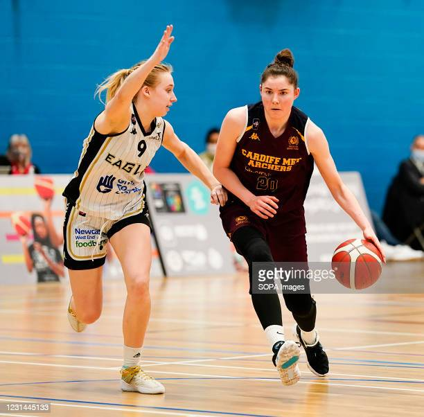 Abigail Lowe and Shannon Hatch are seen in action during the Women's British Basketball League match between WBBL Cardiff Archers and Newcastle...