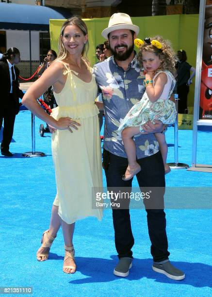 Abigail Ochse actor AJ Buckley and daughter Willow Phoenix Buckley attend the premiere of Columbia Pictures and Sony Pictures Animations' The Emoji...