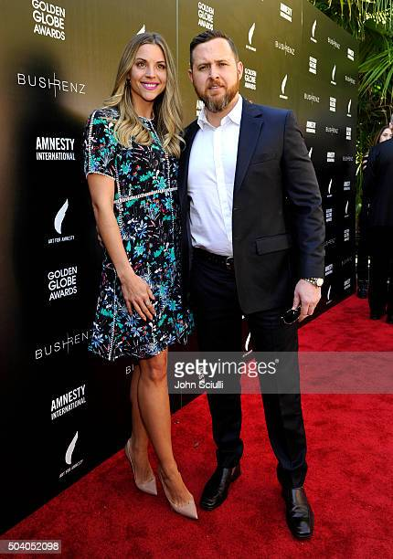 Abigail Ochse and actor A J Buckley attend the Art For Amnesty PreGolden Globes Recognition Brunch at Chateau Marmont on January 8 2016 in Los...