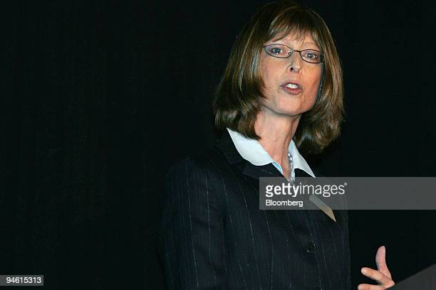 Abigail P Johnson president of Fidelity Employer Services Company speaks during a company event in New York Tuesday October 24 2006