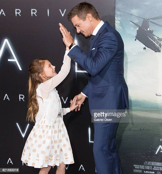 Abigail Pniowsky and Jeremy Renner arrive for the Premiere Of Paramount Pictures' Arrival at Regency Village Theatre on November 6 2016 in Westwood...