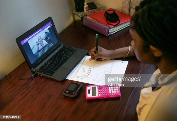 Abigail Previlon takes part in remote distance learning with her deaf education teacher Diane Gamse on October 28, 2020 in Stamford, Connecticut. The...