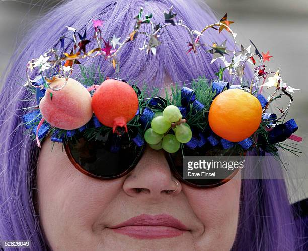 Abigail Reeves sits back and enjoys the festivities during the Everyone's Art Car Parade May 14, 2005 in Houston, Texas. The parade includes around...
