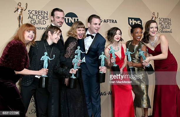 Abigail Savage James McMenamin Emily Althaus Alan Aisenberg Kimiko Glenn Samira Wiley and Julie Lake poses in the press room with their award for...
