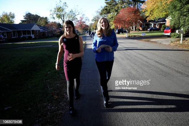 Abigail Spanberger Democratic candidate for Virginia's Seventh District in the US House of Representatives canvasses for votes with Virginia Del...