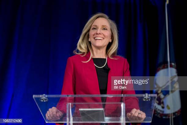 Abigail Spanberger Democratic challenger to Rep Dave Brat RVa does a sound check at her podium before the Virginia 7th Congressional district debate...