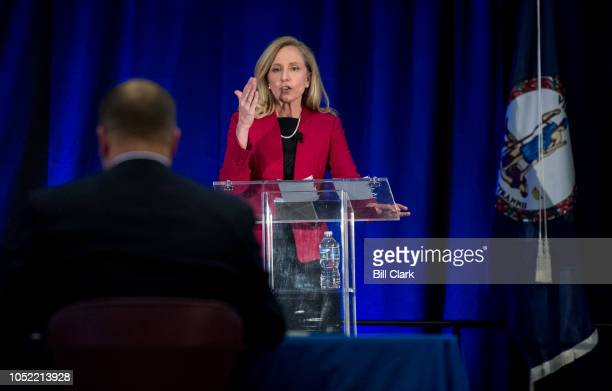 Abigail Spanberger Democratic challenger to Rep Dave Brat RVa speaks during the Virginia 7th Congressional district debate with Rep Brat at the...