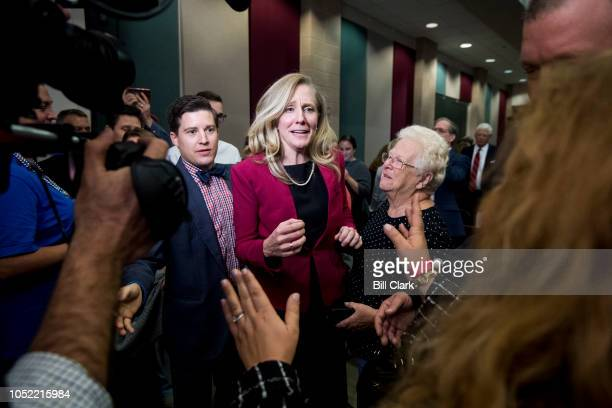 Abigail Spanberger Democratic challenger to Rep Dave Brat RVa speaks with supporters after the Virginia 7th Congressional district debate with Rep...