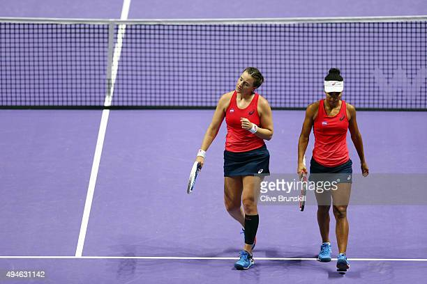 Abigail Spears and Raquel KopsJones of the USA in action against Timea Babos of Hungary and Kristina Mladenovic of France in a doubles round robin...