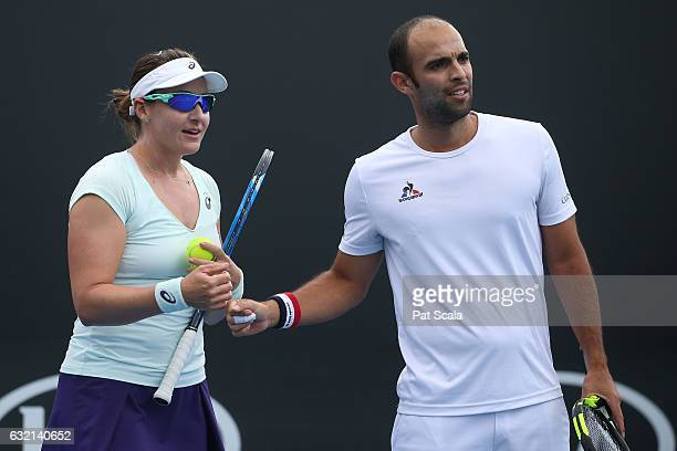 Abigail Spears of the United States and Juan Sebastian Cabal of Colombia compete in their first round matcn against Lucie Hradecka and Radek Stepanek...