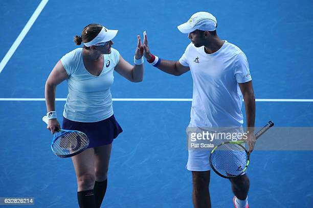 Abigail Spears of the United States and Juan Sebastian Cabal of Columbia compete in their Mixed Doubles Semifinal match against Elina Svitolina of...