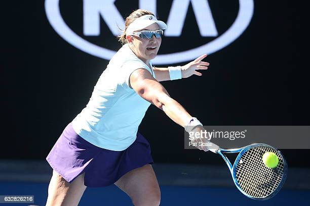 Abigail Spears of the United States in her Mixed Doubles Semifinal match against Elina Svitolina of the Ukraine and Chris Guccione of Australia on...