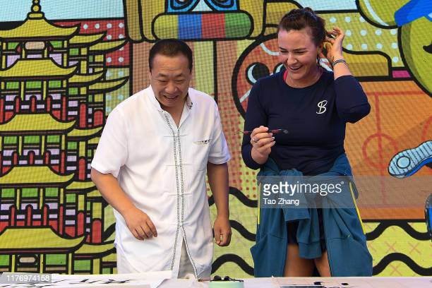Abigail Spears of the USA attends a activity at Optics Valley International Tennis Center on September 25 2019 in Wuhan China