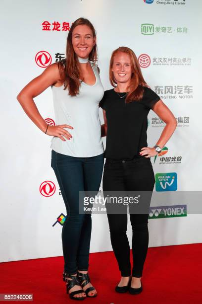 Abigail Spears of United States and Alison Riske of United States poses for a picture at a party of 2017 DONGFENG MOTOR WUHAN OPEN on September 23...