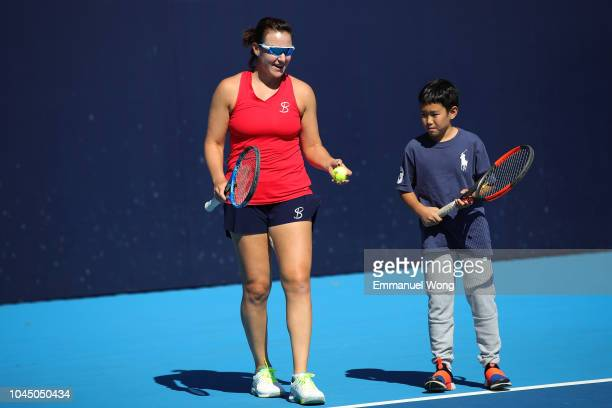 Abigail Spears of USA attends the Clinic at the China National Tennis Center on October 3 2018 in Beijing China