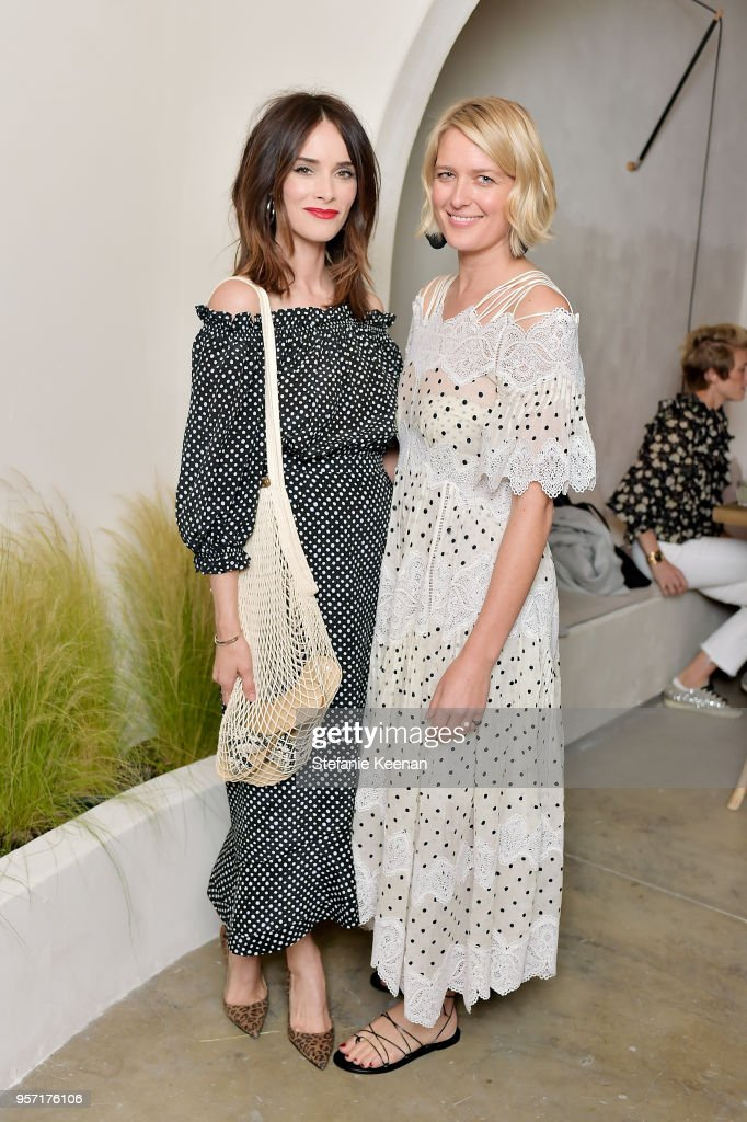 Abigail Spencer (L) and Anita Patrickson attend Julianne Hough and Anita Patrickson Host an evening at AMANU to benefit LOVE UNITED at Amanu on May 10, 2018 in West Hollywood, California.