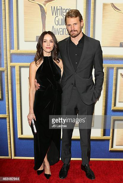 Abigail Spencer and Josh Pence attend the 2015 Writers Guild Awards LA Ceremony at the Hyatt Regency Century Plaza on February 14 2015 in Century...