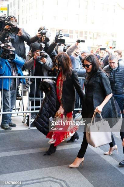 Abigail Spencer and Meghan Duchess of Sussex are seen in the Upper East Side on February 19 2019 in New York City