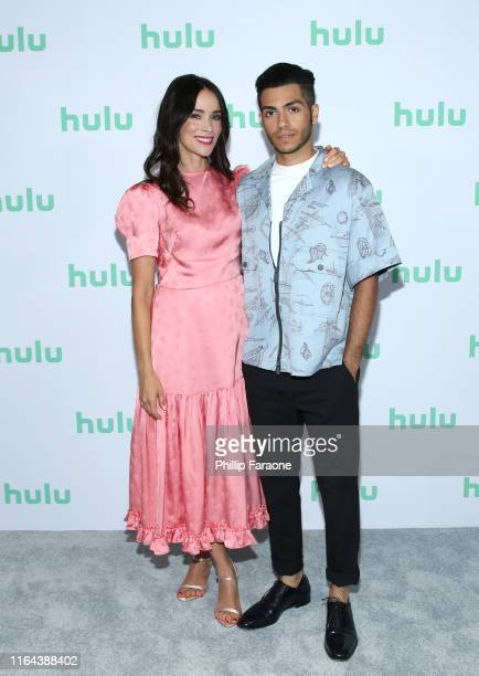 Abigail Spencer and Mena Massoud attend the Hulu 2019 Summer TCA Press Tour at The Beverly Hilton Hotel on July 26, 2019 in Beverly Hills, California.